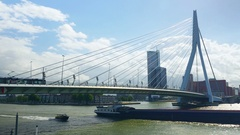 Erasmus Bridge and a taxi boat Stock Footage