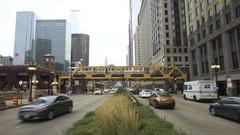 Chicago Wacker Drive Train Stock Footage