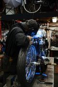 Repairing custom-bike Stock Photos