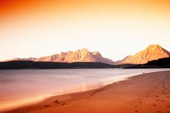 Northern Norway mountains with tidal waves long exposure landsca Stock Photos