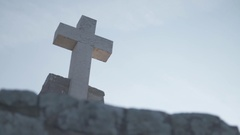 Stone Catholic Cross Stock Footage