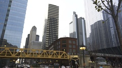 Downtown Chicago 'L' Train Stock Footage