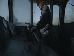 Driver in the locomotive cab manages Stock Footage