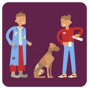 Volunteer is Feeding homeless man and dog Stock Illustration