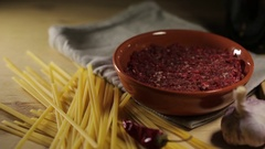 Healthy food ingredients for spaghetti bolognese Stock Footage