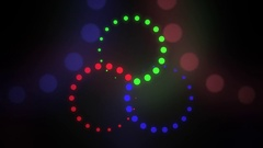 Astract red, green and blue rotating cirles Stock Footage