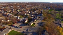Working class neighborhood in autumn, aerial view Stock Footage