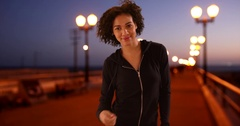 Lovely black woman standing on pier. Stock Footage