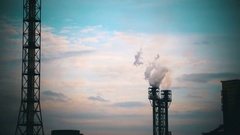 Smoke from Pipes of the Industrial Plant in the City Stock Footage