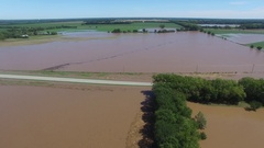 Fly over of heavily flooded area in rural area Stock Footage