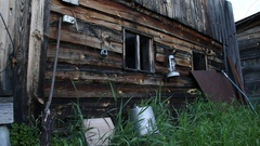Wooden shed. Peasant utensils. Russian Siberia. Stock Footage