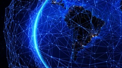 Bright connections forming a network over South America.  Stock Footage
