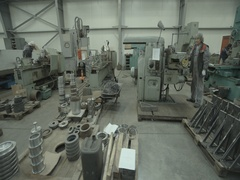 Movement along the workers in a factory lathe work Stock Footage