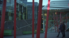 4k Dublin on Dusk, Dolly Shot of Energy Theatre with Red Light Sticks Stock Footage