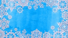 Animation frame from snowflakes on a blue background Stock Footage