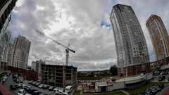 Big fast clouds of two 16-storey building houses 16 floors in the house 3 Stock Footage