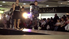 Fashion Bright Show Young Models Legs Walking On A Catwalk Stock Footage