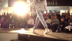 Fashion Bright Show Slender Young Girl Model Legs Walking On A Catwalk Stock Footage