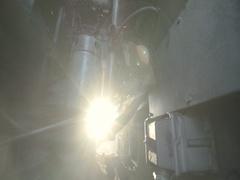 Sunbeams penetrate spectacular between engine truck Stock Footage