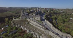 Aerial camera static over Kamianets-Podilsk castle Stock Footage