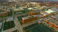 Downtown Green Bay Wisconsin scenic aerial flyover Stock Footage