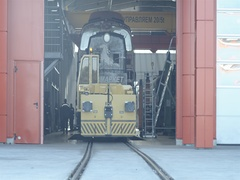 Renovated locomotive out of the repair plant Stock Footage