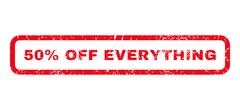 50 Percent Off Everything Rubber Stamp Stock Illustration