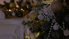 Beautiful toys on the Christmas tree Stock Footage