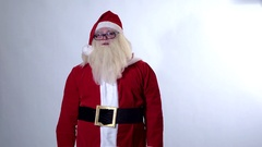 Santa Claus on a white background positive emotions Stock Footage