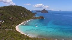 Aerial view of smugglers cove, Tortola, British Virgin Islands Stock Footage