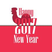 Happy new year 2017. Card with rooster and text. Chinese calendar Piirros