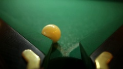 Billiard balls on green baize in the game of pyramid Stock Footage