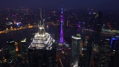 Shanghai skyline financial district Oriental Pearl Pudong skyscrapers Stock Footage