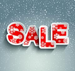 Sale inscription with snowflakes. Vector. Stock Illustration