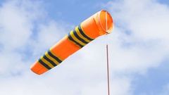 Windsock in airport on the blue sky Stock Footage
