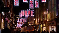 Christmas lights in Carnaby street, London. Stock Footage