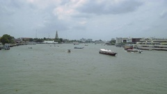 Flying over the Chaopraya river in Bangkok Stock Footage