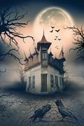 Haunted House with Dark Horror Atmosphere Stock Photos