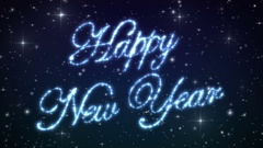 Happy New Year Beautiful Text Appearance Animation in the Night Winter Sky. Stock Footage