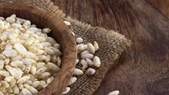 Rotating puffed Rice (not loopable; 4K) Stock Footage