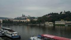 Prague Old city,Charles Bridge, panorama of the city Stock Footage