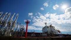 Oil Terminal for the Storage and Pumping of Oil in the Sea Port Stock Footage