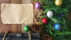 Top view of Christmas decoration with blank paper on the table Stock Footage