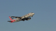 4K American Airlines plane blue sky take off, sound Stock Footage