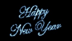 Happy New Year Beautiful Text Animation Isolated on Black Background. Stock Footage