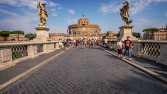 Rome, Italy. Hyperlapse of the Castel Sant Angelo. Stock Footage