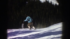 1961: man skiing from a steep hill in the winter ASPEN COLORADO Stock Footage