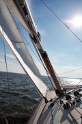 Kiev, Ukraine - September 30, 2016: Sailing yacht training day. Before race on Stock Photos
