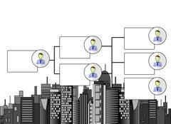 Illustration of organogram with business offices skyline Stock Illustration