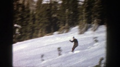 1961: having the vacation in snow land for fully enjoyment by scatting game Stock Footage